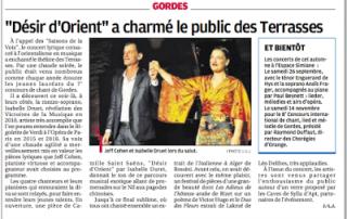 """Article de presse """"Désir d'Orient"""" a charmé le public des Terrasses"""